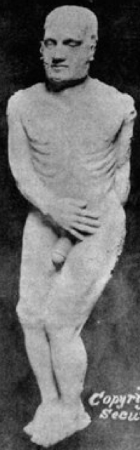 The Cardiff Giant displayed at the Bastable in Syracuse, NY, circa 1869.